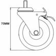 Braked Swivel Castor & Expander for 33.7mm Tube