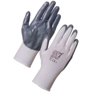 Nitrotouch Nitrile Palm Dip  Gloves - Grey & White 12 Pack in Large