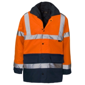 Hi Vis 2 Tone Parka Jacket, Orange & Blue