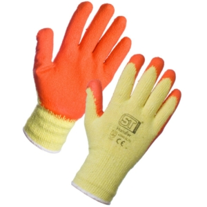 Latex Palm Coated Handler Gloves - Orange 12 Pack in Large