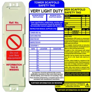 Scaffold Tower Tag Kit - Single