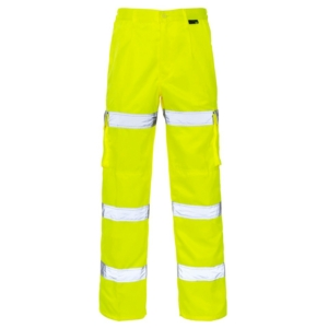 Hi Vis 3 Band Combat Trousers Yellow