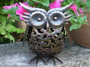 Metal Silhouette Owl Garden Light