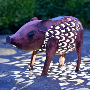 Solar Metal Silhouette Pig Garden Light