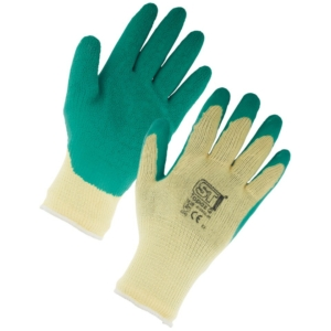 Topaz Latex Palm Coated Green Gloves (XL-12 Pack)