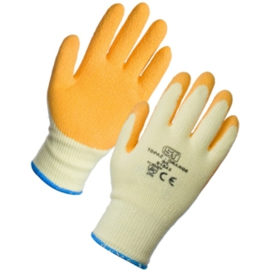 Topaz Latex Palm Coated Orange Gloves (L-12 Pack)