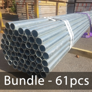 BUNDLE (61pcs) of 4ft Hi Yield Scaffold Tube – Galv 48.3mm o/d, 3.2mm Wall